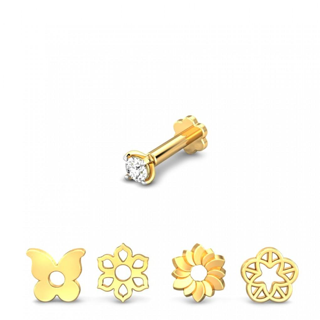 Springtime 4 In 1 Changeable Diamond Nose Pin Online Jewellery